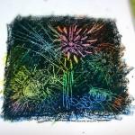 クレヨンエッチングで描く夏の花火